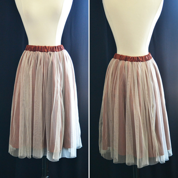 fdd4930e6d Skirts | Copper And Cream Double Layer Tulle Skirt Xl | Poshmark